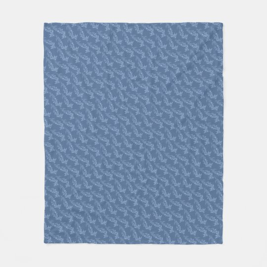 Blue Damask Pattern Fleece Blanket