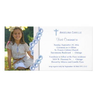 Blue Damask Pearls First Communion Photo Invite Photo Card Template