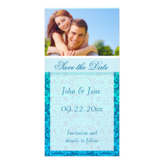 "Blue Damask/photo  ""Save the Date"" Picture Card"