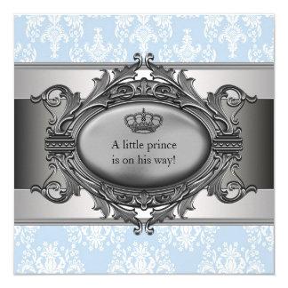 Blue Damask Prince Baby Boy Shower Card