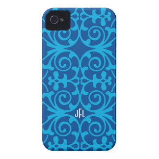 Blue Damask print monogrammed iPhone 4/4s iPhone 4 Covers