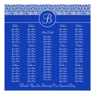 Blue Damask Square Wedding Reception Seating Chart Poster