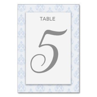 Blue Damask Table Card