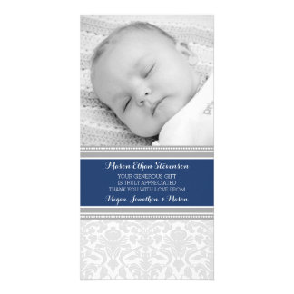 Blue Damask Thank You Baby Shower Photo Cards