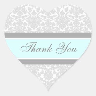 Blue Damask Thank You Wedding Envelope Seals Heart Sticker