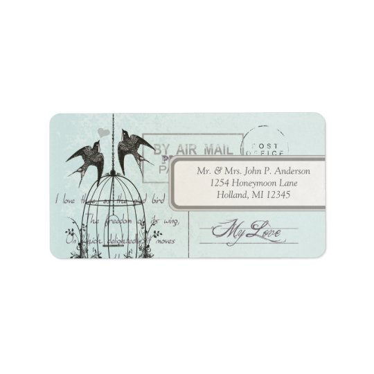 Blue Damask Vintage Bird Cage Air Mail Love Poem Label