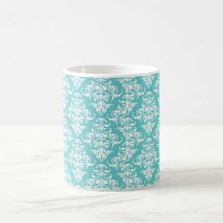 Blue damask vintage wallpaper pattern coffee mug