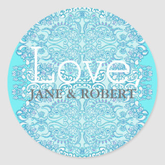 Blue Damask Wedding Classic Round Sticker