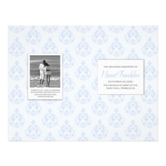 Blue Damask Wedding Program Flyer