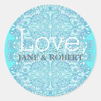 Blue Damask Wedding Round Sticker