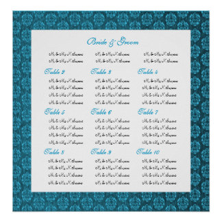Blue damask wedding seating charts posters