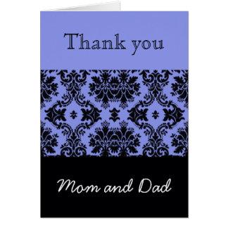 Blue Damask Wedding Thank You, Mom and Dad Card