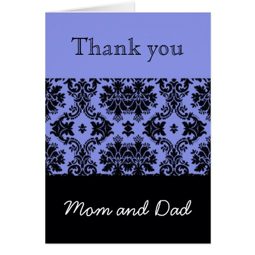 Blue Damask Wedding Thank You, Mom and Dad Cards