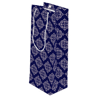 Blue Damask Wine Gift Bag