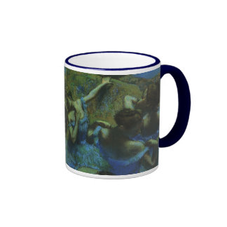 Blue Dancers by Edgar Degas, Vintage Impressionism Ringer Coffee Mug