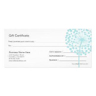 Blue Dandelion Flower Gift Certificate Design 4 Full Colour Rack Card