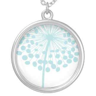 Blue Dandelion Flower Necklace