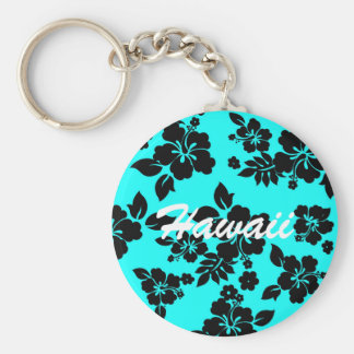 Blue Dark Hawaiian Basic Round Button Keychain