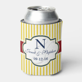 Blue, Dark Red, Yellow Stripes Wedding Can Cooler
