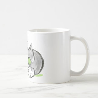 Blue Darning Needle and Gray Kitten Classic White Coffee Mug