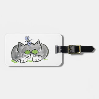 Blue Darning Needle and Gray Kitten Luggage Tag