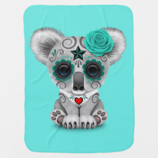 Blue Day of the Dead Baby Koala Baby Blanket