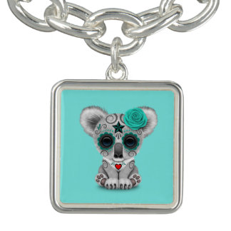 Blue Day of the Dead Baby Koala Bracelet