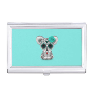 Blue Day of the Dead Baby Koala Business Card Holder