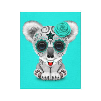 Blue Day of the Dead Baby Koala Canvas Print
