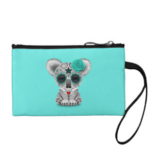 Blue Day of the Dead Baby Koala Coin Purse
