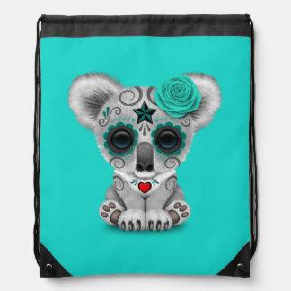 Blue Day of the Dead Baby Koala Drawstring Bag