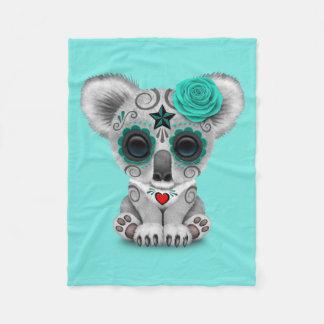 Blue Day of the Dead Baby Koala Fleece Blanket