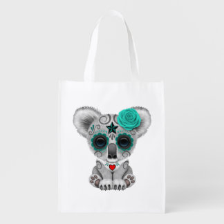 Blue Day of the Dead Baby Koala Grocery Bag