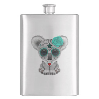 Blue Day of the Dead Baby Koala Hip Flask