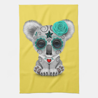 Blue Day of the Dead Baby Koala Kitchen Towel