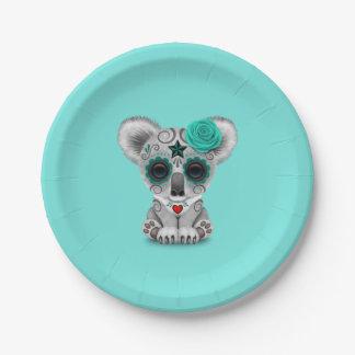 Blue Day of the Dead Baby Koala Paper Plate