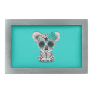 Blue Day of the Dead Baby Koala Rectangular Belt Buckle