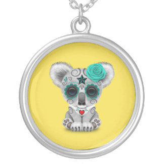Blue Day of the Dead Baby Koala Silver Plated Necklace