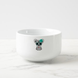 Blue Day of the Dead Baby Koala Soup Bowl With Handle