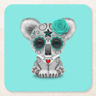 Blue Day of the Dead Baby Koala Square Paper Coaster