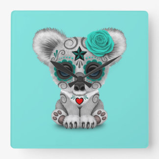 Blue Day of the Dead Baby Koala Square Wall Clock