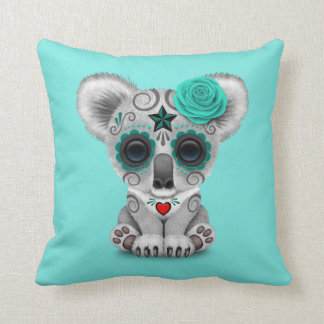 Blue Day of the Dead Baby Koala Throw Pillow