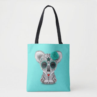 Blue Day of the Dead Baby Koala Tote Bag