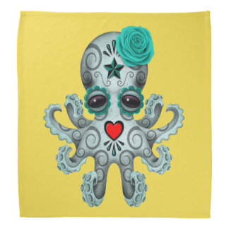 Blue Day of the Dead Baby Octopus Bandana