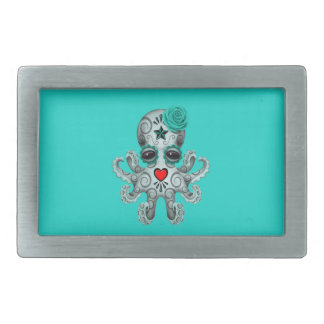 Blue Day of the Dead Baby Octopus Belt Buckle