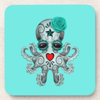 Blue Day of the Dead Baby Octopus Beverage Coasters