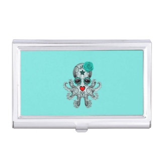 Blue Day of the Dead Baby Octopus Business Card Holder