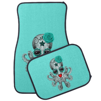 Blue Day of the Dead Baby Octopus Car Mat