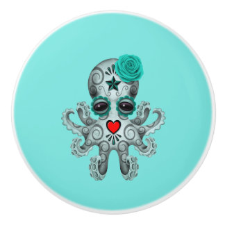 Blue Day of the Dead Baby Octopus Ceramic Knob
