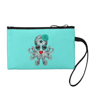 Blue Day of the Dead Baby Octopus Coin Purse